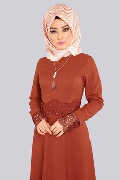 Danteli İncili Tesettür Elbise MDS2043 Kiremit