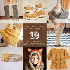 You choose any 10 patterns crochet and knitting by monpetitviolon, $40.00