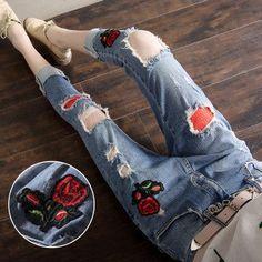 Women Embroidery Retro Flower Jeans Pants Denim Pant Casual Daily Pantalones Femme Trouser Women Bottom
