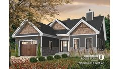 front - BASE MODEL Master suite, 2 bedroom, huge kitchen, mud room, fireplace small farmhouse with garage - Frangelica 3 2 Bedroom House Plans, Garage House Plans, House Plans One Story, House Plans And More, Bungalow House Plans, Craftsman Style House Plans, Small House Plans, Car Garage, One Story Houses