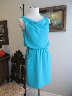 BANANA REPUBLIC Solid Turquoise Polyester Cowl Neck Lined Blouson Dress Sz 4P #BananaRepublic #Blouson #Casual