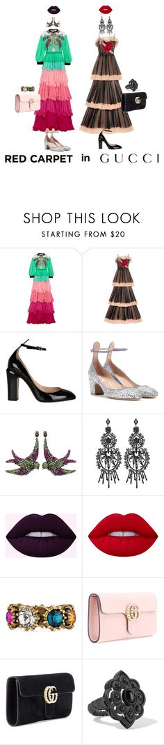 """""""Red Carpet."""" by monsteryay ❤ liked on Polyvore featuring Gucci, Valentino and Lime Crime"""