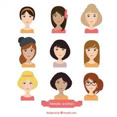 beautiful female avatars Free Vector