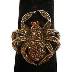 Vintage Sterling Silver Spider Ring Adorned w/ Marcasite Stones