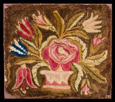 """Yarn-Sewn And Clipped Seat Cover  Clipped Mat  American, second quarter 19th c.  Wool on linen foundation.  16"""" x 17 3/4""""  Presently mounted.    $ 2800."""