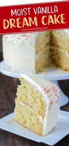 Vanilla Cake Batter Recipe, Easy Moist Vanilla Cake Recipe, Super Moist Cake Recipe, Moist Cake Recipes, Best Birthday Cake, Easy Birthday Cake Recipes, Super Moist Chocolate Cake, Homemade Birthday Cakes, Cookies