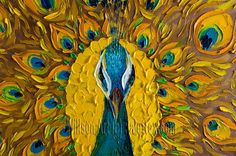 Original Peacock Oil Painting Textured Palette Knife par willsonart