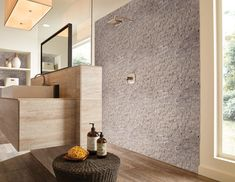 Get the perfect Scandinavian bathroom with our Landscape 6x24 Natural Stone Ledger Panel in Tiara Beige. These stunning natural stone panels create a relaxing spa atmosphere in your home! This split face finish is natural and ideal for interior and exterior wall design projects. It retails starting at $9.99 SQ FT.