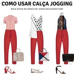 Calça jogging vermelha é peça versátil para montar looks modernos. Dá para usar no trabalho ou no lazer. Veja aqui 3 opções de look com calça jogging e se inspire. clique na imagem e saiba como se vestir bem, dicas de moda e estilo. Jogging, Looks Plus Size, Office Looks, Work Looks, Personal Stylist, Fashion Advice, Capsule Wardrobe, Chic Outfits, Casual Chic