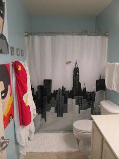 Superhero bathroom Half-finished house: superhero bathroom for big children, finished … Batman Bathroom, Superhero Bathroom, Superhero Room, Kid Bathroom Decor, Bath Decor, Small Bathroom, Childrens Bathroom, Bathroom Closet, Bathroom Plants