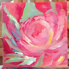 Pink Peonie Abstact- Original Acrylic Abstract Painting, one of a kind. 6x6 inches.