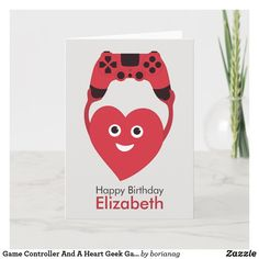Game Controller And A Heart Geek Gamer Birthday Card Happy Birthday Elizabeth, Birthday Gift Cards, Geek Games, Fun Illustration, Great Valentines Day Gifts, Gamer Gifts, Weird Creatures, Game Controller, Custom Greeting Cards