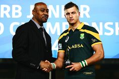 Jonah Lomu presents Handre Pollard of South Africa with the IRB Junior Player of the Year award
