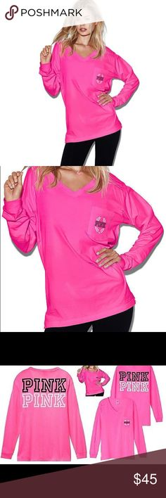 VS PINK GYPSY ROSE LONG-SLEEVE V-NECK TEE! BRAND NEW! SUPER CUTE!  Comfy with the perfect oversized fit for pairing with your favorite leggings  Large PINK graphic in black & white on the back Oversized fit Front pocket with graphics V-neck Heavyweight t-shirt material Long cuffed sleeves Longer length Imported 100% cotton PINK Victoria's Secret Tops Tees - Long Sleeve
