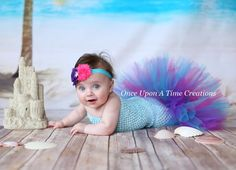 Under Sea Princess Fishtail Tutu Set - Baby Girl Size Newborn 3 6 9 12 Months - Bubble Guppies Inspired - Pink Purple Aqua - Top and Bottom
