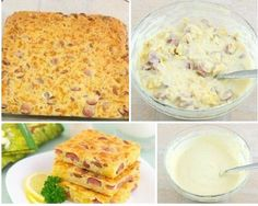 Pie with cheese and sausages for Breakfast. Sausages, Pie, Cheese, Breakfast, Ethnic Recipes, Food, Torte, Morning Coffee, Cake