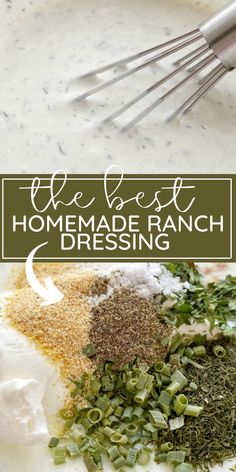 Easy recipe for homemade ranch dressing with a few minutes prep and it uses dried seasonings so it's inexpenive to make. This ranch dressing is better than anything you'd buy at a store! Ranch Dressing Recipe, Homemade Ranch Dressing, Salad Dressing Recipes, Salad Recipes, Salad Dressings, Easy Homemade Recipes, Homemade Spices, Healthy Recipes, Healthy Meals