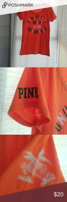 VS PINK Miami Hurricanes shirt Awesome shirt! Has PINK on the sleeve! No stains but some fading on the letters! Tops