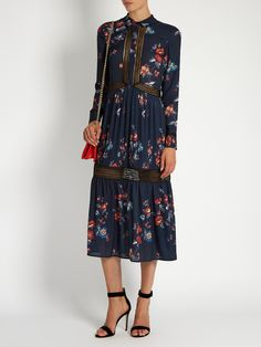 Self-Portrait Plum Blossom-PrintCrepe De Chine Dress