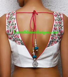 22 Graceful Pics of simple thread work blouse & Saree designs Saree Blouse Neck Designs, Choli Designs, Saree Blouse Patterns, Fancy Blouse Designs, Salwar Designs, Lehenga Designs, V Neck Blouse, Dress Designs, Stylish Blouse Design