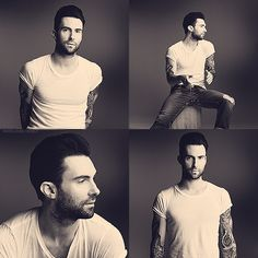 Adam Levine in a white tshirt and blue jeans. it doesn't get any better than that.