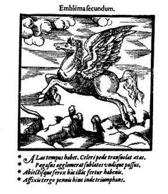 """""""Alas tempus habet!"""" - as I was saying to the missis earlier today... 2nd of the Thame School Prospectus's emblems (pubd 1578) -- Pegasus flying over barren landscape"""