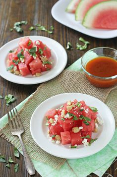 Watermelon Salad with Feta, Peanuts, Arugula, and a Sriracha-Honey Vinaigrette — #vegetarian #recipe from Cookie Monster Cooking