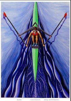 Rowing Woman Single Scull art print