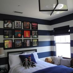 cool bedroom ideas for pre-teen boy | The bold stripes bring life to this pre-teen boy's room. The guitarist ...
