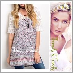 """Dusty Pink Floral Print Tunic Top Adorable top with lace V neck yoke and a dusty pink and blue floral print. Perfect summer top pair with leggings and capris. Made of rayon. Size S, M, L.                                                      Small bust 34"""" Length 31"""" back 34"""" Medium Bust 38"""".                                             Length 32"""" back 35"""" Large bust 40"""" Length front 32"""" back 35"""" chiffon Threads & Trends Tops Tunics"""