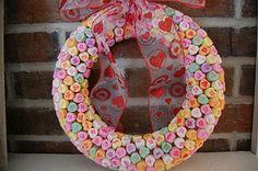 DIY valentine's day conversation heart candy wreath
