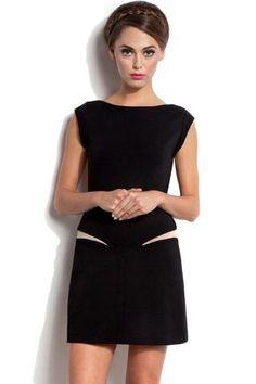 b9272cb31c3 Black Stretch Mesh Insert Mini Dress LAVELIQ Patchwork Dress