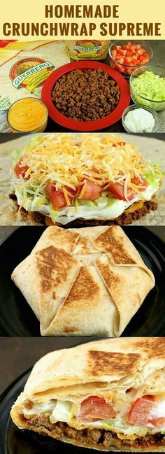 Homemade Crunchwrap Supreme Recipe easy to substitute ingredients to make this r. - Homemade Crunchwrap Supreme Recipe easy to substitute ingredients to make this recipe gluten and or - Think Food, Love Food, Comida Tex Mex, Great Recipes, Favorite Recipes, Recipes Dinner, Recipe Ideas, Amazing Recipes, Taco Ideas For Dinner