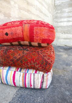Handmade in: Mid and High Atlas Mountains in Morocco Width: x Height: Material: Recycled Kilim with with wool/cotton backing Featuring: Each piece is one-of-a-kind Detail: Pillow come st Floor Pillows And Poufs, Moroccan Floor Pillows, Throw Pillows, Hippy Room, Apartment Essentials, Bohemian Interior, Pouf Ottoman, Lounge, Furniture Projects