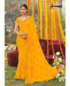 Material : Georgette  Occasion : Engagement, Party Wear, Wedding  Work : Resham thread work, Stone Work  Colour : Yellow