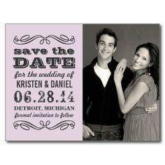 Purple Photo Save the Dates | Vintage Poster Style Post Card