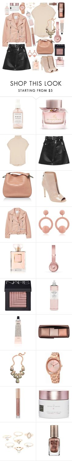 """Rose Gold"" by cherieaustin on Polyvore featuring Herbivore, Burberry, By Malene Birger, Maje, Bottega Veneta, GUESS, MANGO, Rebecca de Ravenel, Chanel and Beats by Dr. Dre"