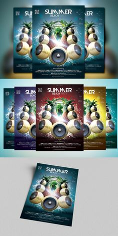 Summer Beach Party, Party Flyer, Graphics, Creative, Graphic Design, Printmaking