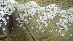 White Cotton Lace Trim Embroidery Rose Flower Trim by lacelindsay, $3.80