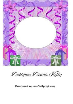 purple age birthday insert on Craftsuprint designed by Donna Kelly - Insert for age birthday cards, purple and pink tones with flowers and gifts - Now available for download!