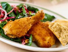These easy oven fried chicken drumsticks are flavored with a seasoned flour coating, then they're baked in a hot oven.