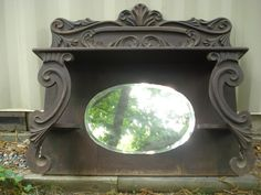 Items similar to RESERVED - Victorian Fireplace Mantle Carved Beveled Mirror Shelves on Etsy Fireplace Heater, Paint Fireplace, Old Fireplace, Victorian Fireplace, Fireplace Surrounds, Fireplace Cover, Fireplace Outdoor, Black Fireplace, Fireplace Mirror