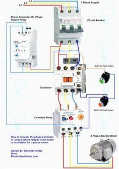 control wiring diagram of dol starter runva winch solenoid 3 phase panel for motor controller failure relaywiring
