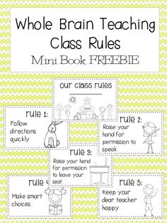 FREE:  Whole Brain Teaching Rules Mini Book Printable  schoolisahappyplace.blogspot.com