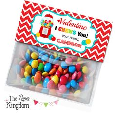 Printable Valentine Bag toppers Gumball Machine by thepaperkingdom