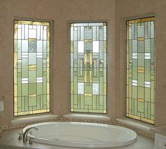 "Bathroom Privacy Window stained glass 3-piece window - ""elegant privacy"" (w-49) 