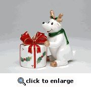 Reindeer with Gift Box Salt and Pepper Shaker Set