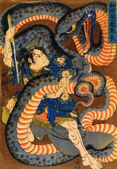 ukiyoe Shunga Makurae Erotic Art hirosige hokusai utamaro kuniyosi yositosi musha-e japan warriors Japanese Artwork, Japanese Tattoo Art, Japanese Prints, Japanese Painting, Samurai Art, Samurai Warrior, Snake Art, Japanese Folklore, Japan Art