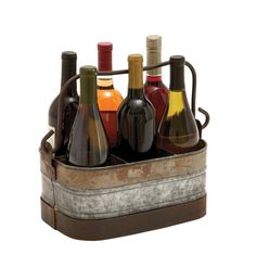 Galvanized Wine Holder with Six Compartments. Features: Crafted from premium grade galvanized metal Box style wine holder has six compartments Warm tones in shades of brown The wine holder augments design aesthetics and gives it a classic, rustic look  Description: This Metal Galvanized Wine Holder combines form and function which makes it a wonderful addition to all kitchen setups. This box style wine holder has six compartments which can be used to display wine bottles on kitchen…