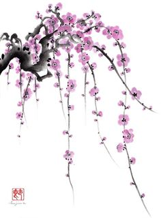 Sumi-e art in ink - Weeping Plum by Shirley Isojima Japanese Painting, Chinese Painting, Chinese Art, Japanese Art, Chinese Brush, Sumi E Painting, Fabric Painting, Watercolor Flowers, Watercolor Paintings